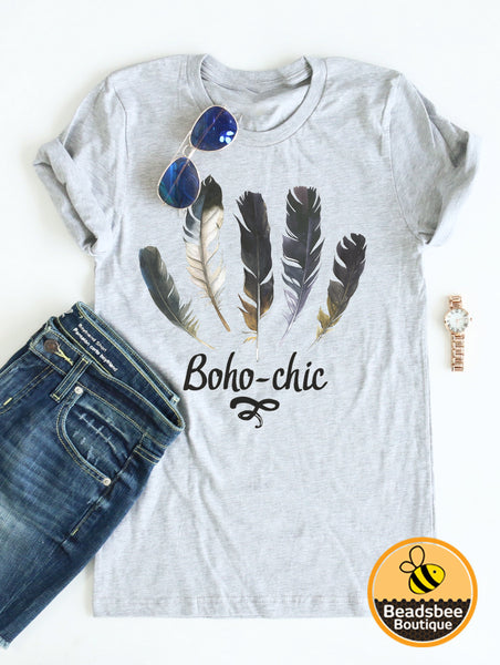 Boho-Chic Tee - Heather Gray