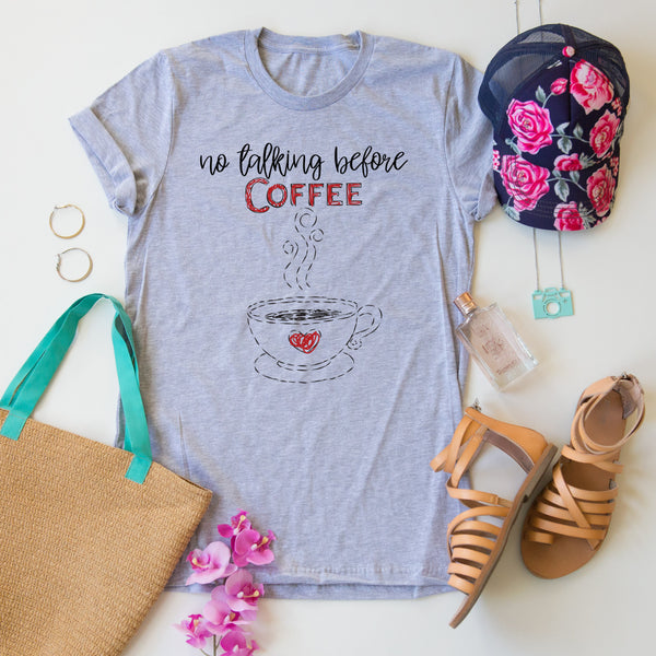 No Talking Before Coffee tee