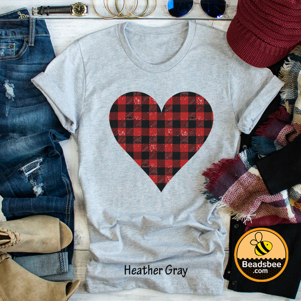 Plaid Heart Tee