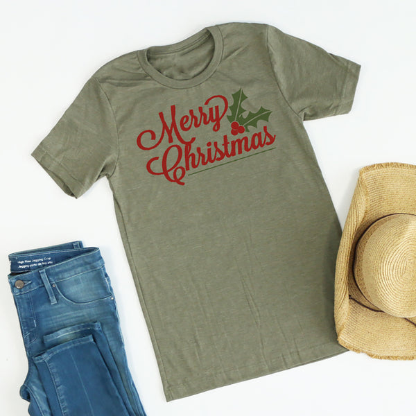 Merry Christmas Holly Berry tee