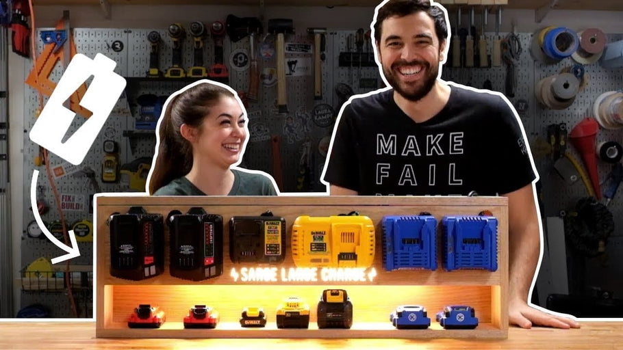 We made this DIY charging station to keep our power tool batteries in line because we are organized people! Thanks Lowe's for sponsoring this video, check out ...