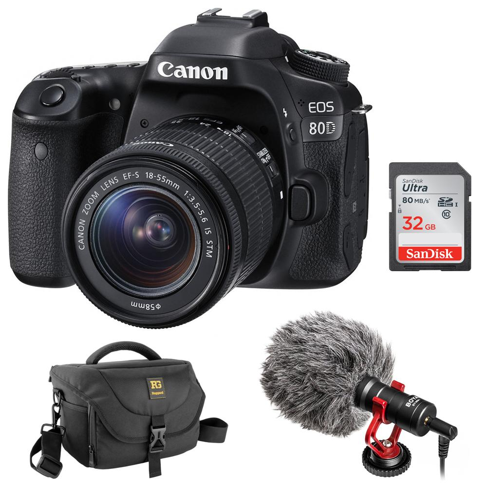 Canon EOS 80D DSLR Camera with Boya BY-MM1 Shotgun Video Microphone, 32GB SDHC Memory Card & DSLR Shoulder Bag Bundle