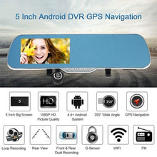 "Load image into Gallery viewer, 1080P Car Camera Recorder 5"" Android Smart System GPS Navigation Rearview Mirror DVR Dual Lens Front Rear Detection Night Vision"