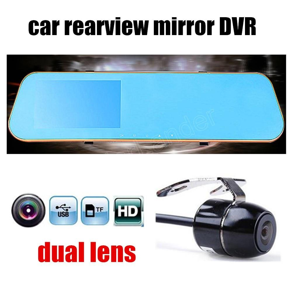 1080P Full HD Car DVR Blue Review Mirror Digital Video Recorder Auto Registrator Camcorder  with dual lens  rear camera