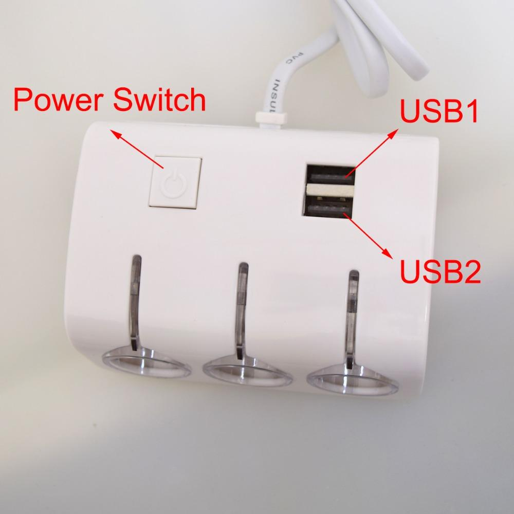 10pcs 12-24V Truck Universal 1to3 Cigarette Lighter Charger 3-Way Splitter+5V Dual Female USB Chargers for iPhone iPad Air-White