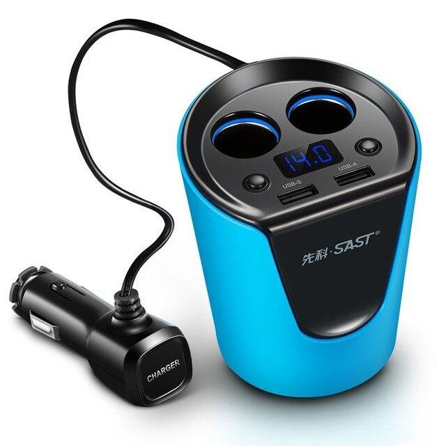 12-24V 3.1A Dual USB Car Charger Adaptor With Voltage Current Display Charger Car Cup Holder 2 Sockets Cigarette Lighter