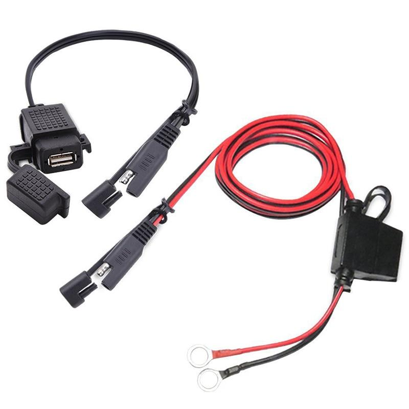 12-24V Universal Waterproof SAE USB Cable Connector 2.1A Port With Fuse for Cellphone Tablet GPS Motorcycle Modified Accessories