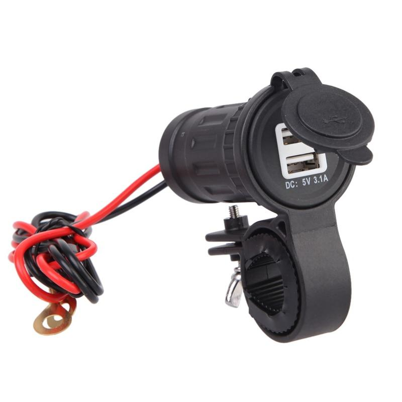 12V-24V Waterproof Motorcycle Charger Moto Handlebar USB Charging Socket Power Charger Adapter with 60cm Wire Moto Accessories