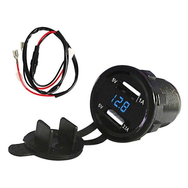 12V 3.1A DC Car-styling Motorcycle Dual USB LED Charger Socket with Cable Voltage Voltmeter Panel