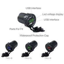 Load image into Gallery viewer, 12V 3.1A DC Car-styling Motorcycle Dual USB LED Charger Socket with Cable Voltage Voltmeter Panel