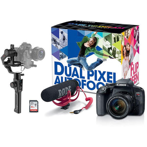 Canon EOS Rebel T7i DSLR Camera with 18-55mm Lens Video Creator Kit & Moza Air 2 3-Axis Gimbal Stabilizer Bundle