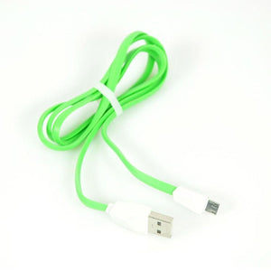 Micro USB To USB Noodle Data Cable Sync Charging Cable For All Android Smartphones (Green/Silver)