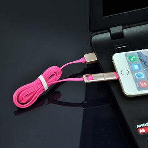 2 In 1 USB To Micro USB & Lightning Data Cable For All Android & iOS Smartphones (Pink/Gold)