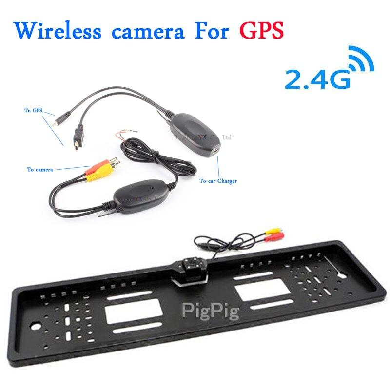 2.4G Wireless Car Rear View Camera European License Plate Frame camera Parking License Camera For Car GPS 2.5 Parking System