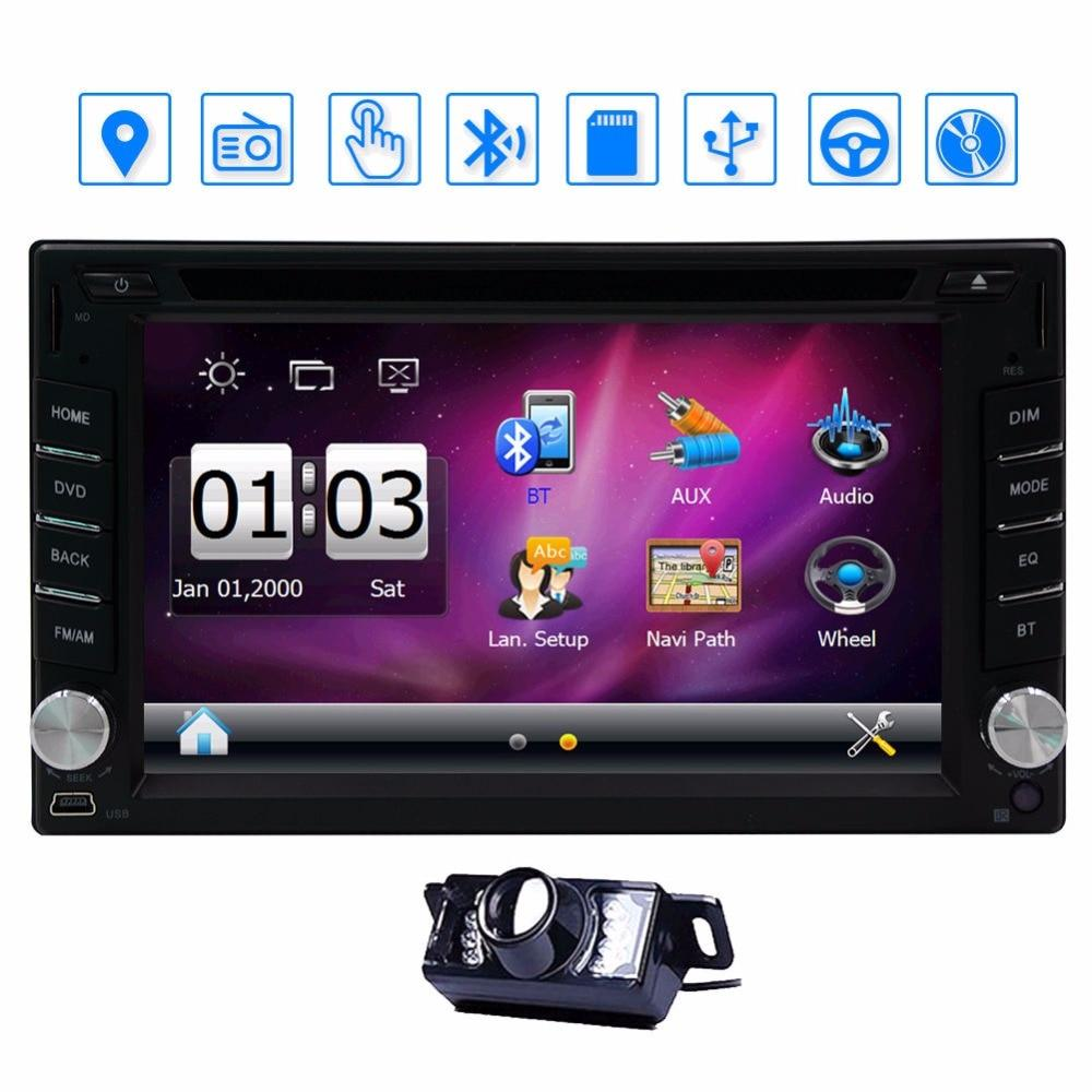 2 Din Car DVD Player GPS Navigation Car Stereo build-in Bluetooth Car Radio Audio Video Player Supports FM AM RDS 8GB GPS Card