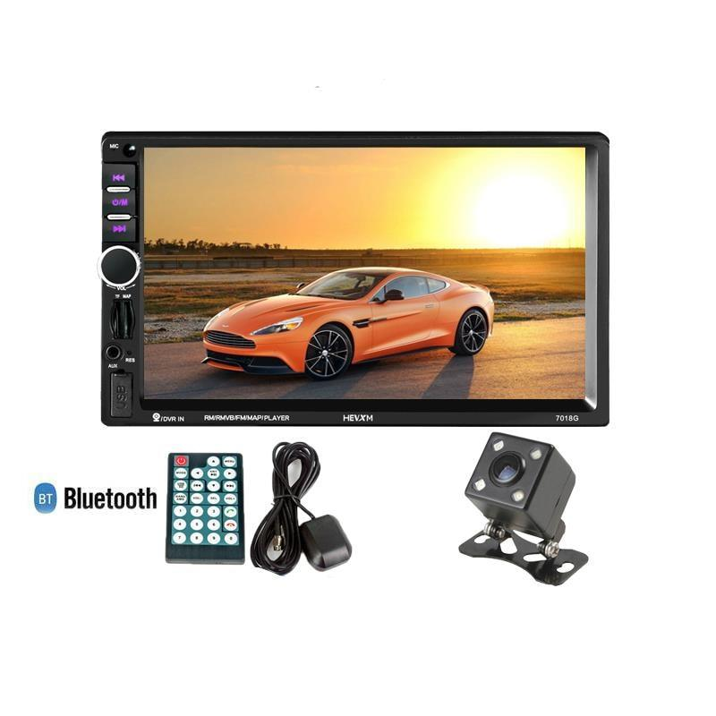 2 Din Car Multimedia Player+GPS Navigation+Camera 7in HD Touch Screen Bluetooth Autoradio MP3 MP5 Video Stereo Radio