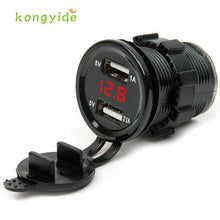 Load image into Gallery viewer, 2018 hot sale car-charger 12V DC Motorcycle Car 3.1A Dual USB LED Charger Socket Voltage Voltmeter Panel Auto car-styling