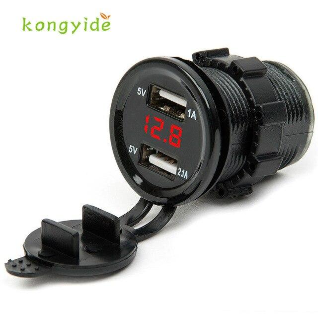 2018 hot sale car-charger 12V DC Motorcycle Car 3.1A Dual USB LED Charger Socket Voltage Voltmeter Panel Auto car-styling