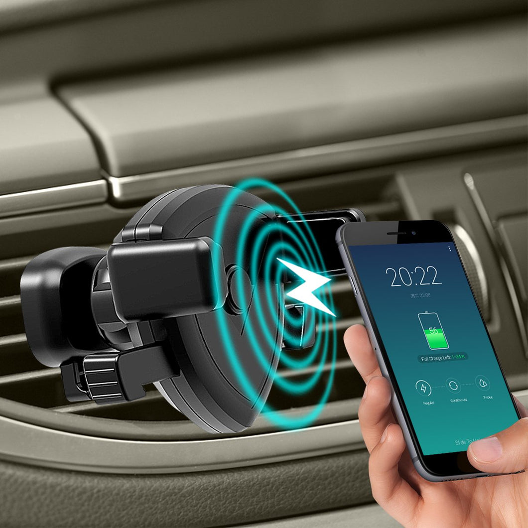 9V-1.8A 10W QI Fast Car Charger Universal 360° Rotating Mount Air Vent Car Wireless Charger