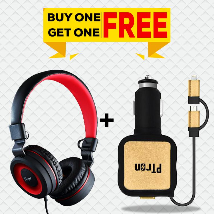 Buy PTron Mamba Stereo Wired Headset with Mic, Get Dynamite Dual USB Car Charger Free