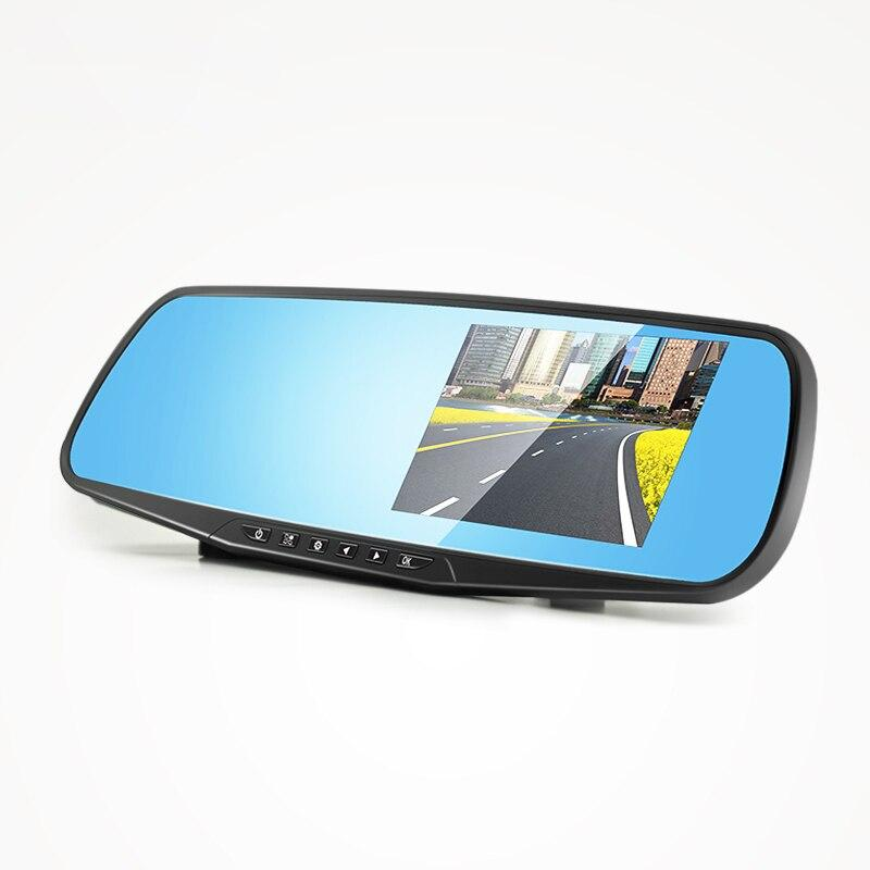2PCS wholesale Car Camera Rearview Mirror Car Dvrs Dual Lens Dash Cam Recorder Video Registrator reversing camera