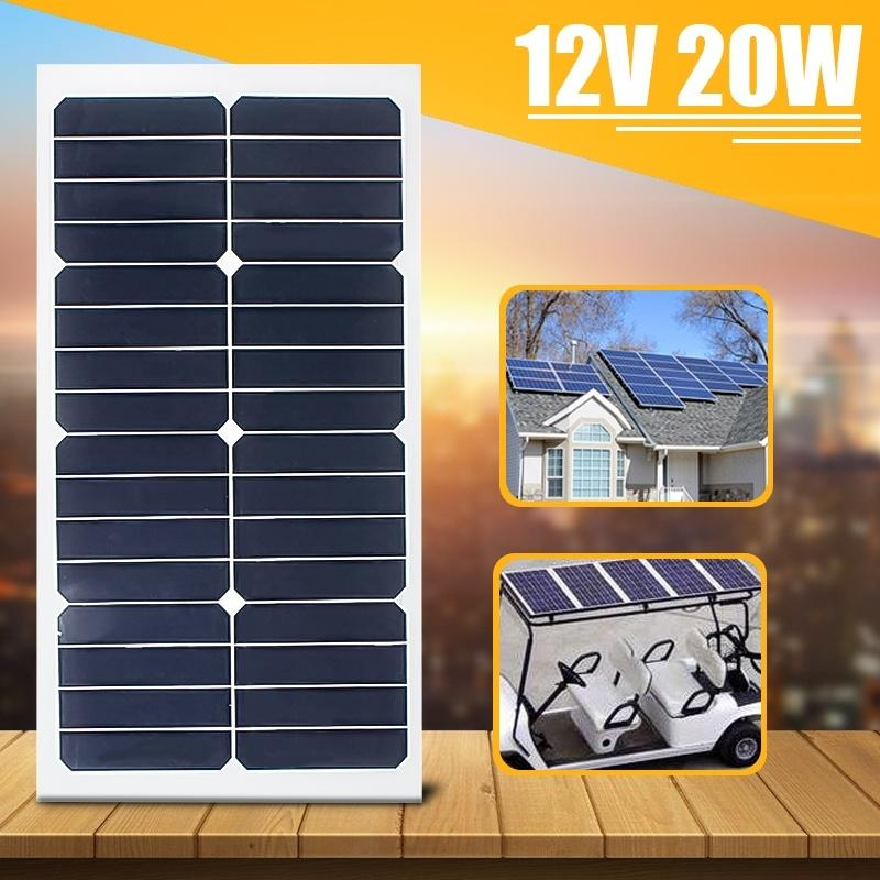 20W 12V Monocrystal Solar Panel Semi Flexible Solar Cells Poly Solar Module Battery Charger for Car Boat  Planting Street Lamp