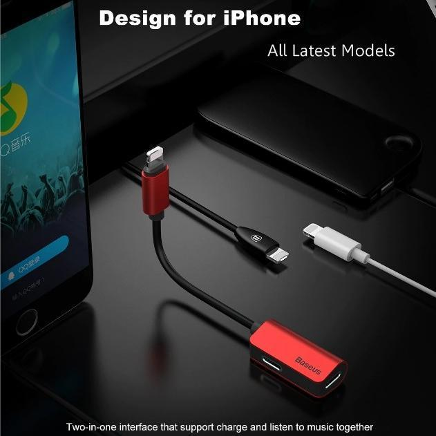 Baseus iPhone Male to Double iPhone Female Adapter Charging+Music+Calling Same Time