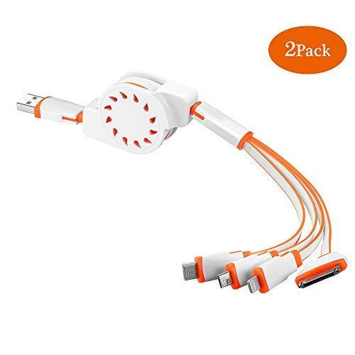 (2 Pack)Multi Charger,ANSOTT(3.3ft)Retracrable 4 in 1 Multifunctional USB Cable Adapter Connector with Type C/Micro USB/8 Pin Lighting/30 Pin for iPad, 7 Plus,Andriod,and More(Orange+White)