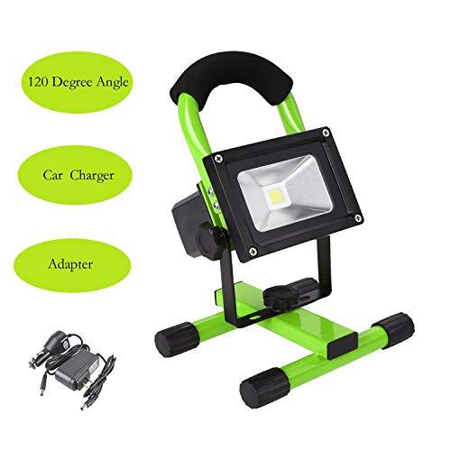 10W Wireless Led Flood Light Waterproof Outdoor Camping Hiking Lamp For Garage, Garden, Lawn,Basketball Court,Playground (Green)