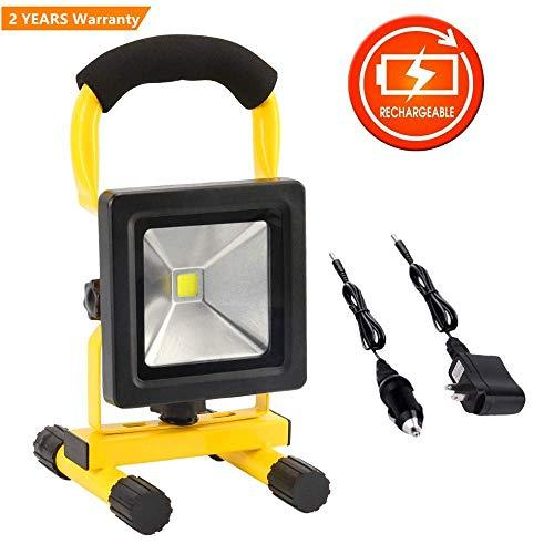 10W Rechargeable Led Work Light Portable Floodlight Waterproof Battery Spotlight Workshop Car Garage Home Emergency Security Light Outdoor Lamp For Camping Garden