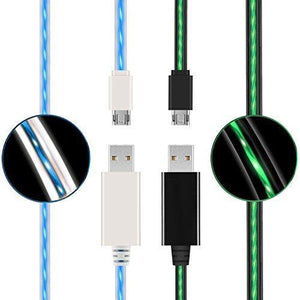 (2 Pack) USB to Micro Cable, Ehoomely Led Flowing Micro USB2.0 Quick Charging Cable Sync Data Cord for Android Phones, Samsung, Huawei, HTC, Motorola, Nokia & More (blue+green)