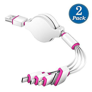 (2 Pack) Multi Charger,KINGBACK Retracrable 4 in 1 Multiple USB Cable Adapter Connector with Type C/Micro USB/8 Pin Lighting/30 Pin for iPad, 7 Plus,Andriod,and More (White/pink)