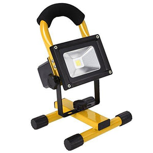 10W Wireless Rechargeable Led Flood Light Outdoor Camping Hiking Lamp Portable Stand Landscape Spotlight Emergency Light (Yellow)