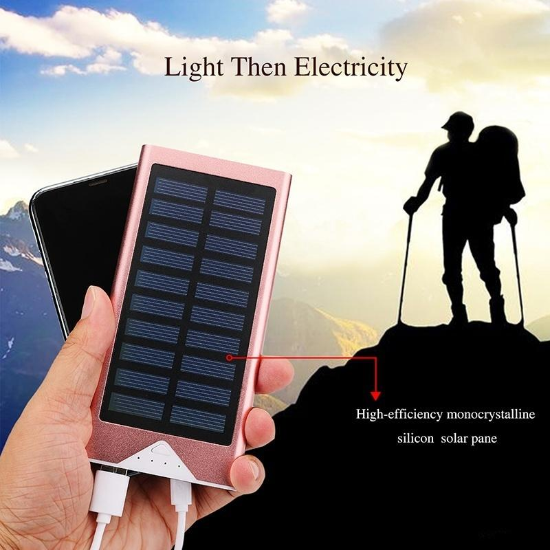 50000mAh Portable Solar Power Bank Dual-USB Led Solar Battery Charger for all Phone Universal Charger