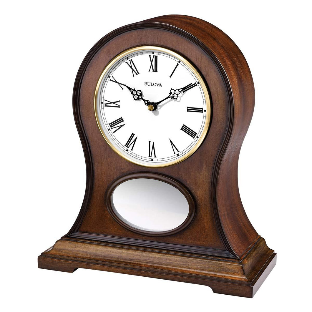 Bulova Bluetooth Mantel Clock - Brookfield Brown Cherry Stain White Dial | B6217