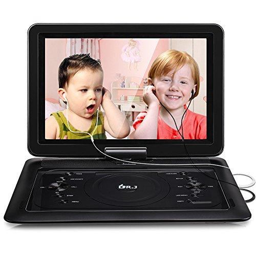 2018 Upgraded DR. J Professional 14.1 inch 7 Hours Portable DVD Player with Build-in Rechargeable Battery, 270°Swivel Screen, 5.9 ft Car Charger and SD Card Slot, USB Port and Two Earphones