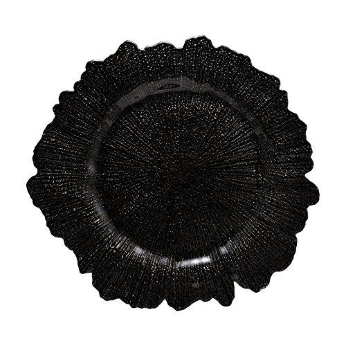10 Strawberry Street Sponge Glass 13  Charger Plate, Set Of 6, Black