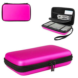 1Pcs Nintendo 3Ds Xl Case With 8 Game Holders ,Hongfa Replacement Hard Case For Nintendo New 3Ds Xl ,New 3Ds , 3Ds Xl ,(Pink) Hard Cover - Mesh Accessory Pouch - Carrying Strap