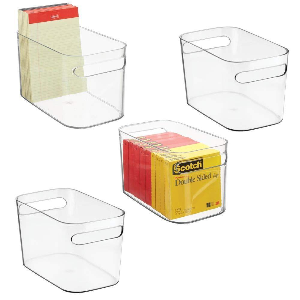 mDesign Plastic Home Office Bin Holder Storage Office Organization Container with Handles for Cabinets, Drawers, Desks, Workspace - for Pens, Pencils, Highlighters, Notebooks, 4 Pack - Clear