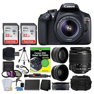 Canon EOS Rebel DSLR T6 Camera Body + Canon 18-55mm EF-S IS II Autofocus Lens + Wide Angle & 2x 58mm Lens + SanDisk 64GB Card + T6/1300D for Dummies + Vivitar Gadget Bag + Quality Tripod + Deluxe Kit