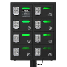 Load image into Gallery viewer, Top rated chargetech secure cell phone charging station locker w 8 digital combination locking bays multi port charging locker with universal charging tips included for all devices model pl8 black