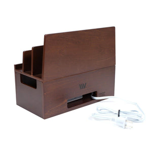 Latest mobilevision wood multi device organizer stand and charging station for smartphones tablets and laptops includes 5 usb hub charger combo