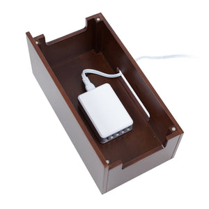 New mobilevision wood multi device organizer stand and charging station for smartphones tablets and laptops includes 5 usb hub charger combo