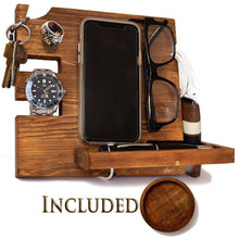 Load image into Gallery viewer, Kitchen wooden docking station for men and women nightstand organizer with coaster charges phone and holds keys watch wallet glasses ring pen coins perfect gift with varnish finish by peraco