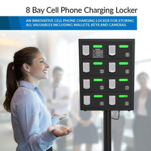 Load image into Gallery viewer, Amazon best chargetech secure cell phone charging station locker w 8 digital combination locking bays multi port charging locker with universal charging tips included for all devices model pl8 black