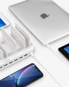 Explore usb c pd charging stations unitek 160w 10 port usb quick charger dock power delivery compatible laptop macbook 2015 later pixel nintendo switch support 9 ipad upgraded adjustable dividers