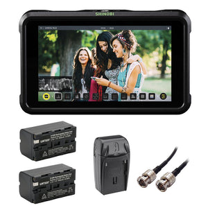 "Atomos Shinobi SDI 5"" 3G-SDI & 4K HDMI Pro Monitor with (2) NP-F770 Li-Ion Battery Pack, AC/DC Charger & HD-SDI BNC Cable Bundle"