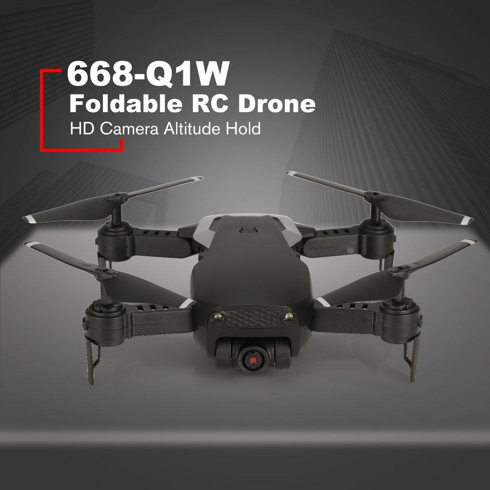 668 Q1W 720P Foldable Mini RC Drone with Camera HD RC Quadcopter  Altitude Hold Helicopter Aerial Photo Live Transmission Video
