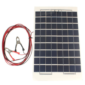10W 12V PolyCrystalline Cells Solar Panel Cell Charger Module with 2 Alligator Clips and 4m Cable
