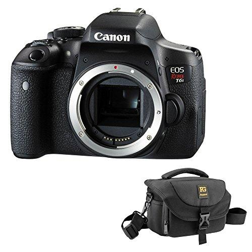 Canon EOS Rebel T6i DSLR Camera (Body Only) with Journey 24 DSLR Shoulder Bag (Black) Kit
